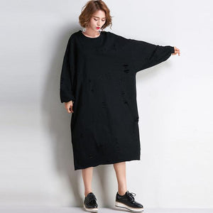Buddha Trends Sweater Dresses Ripped Oversized Sweater