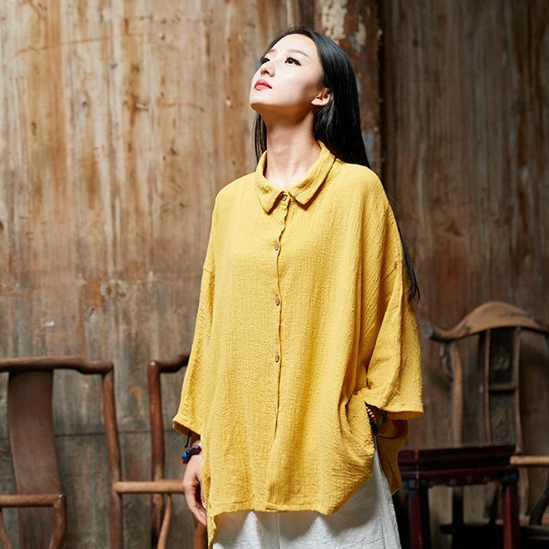 Buddha Trends Tops Yellow / One Size Oversized Button Down Shirt  | Zen