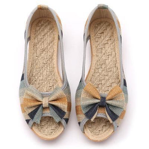 Buddha Trends Vintage Blue / 5 Rainbow Striped Peep Toe Linen Chaussures