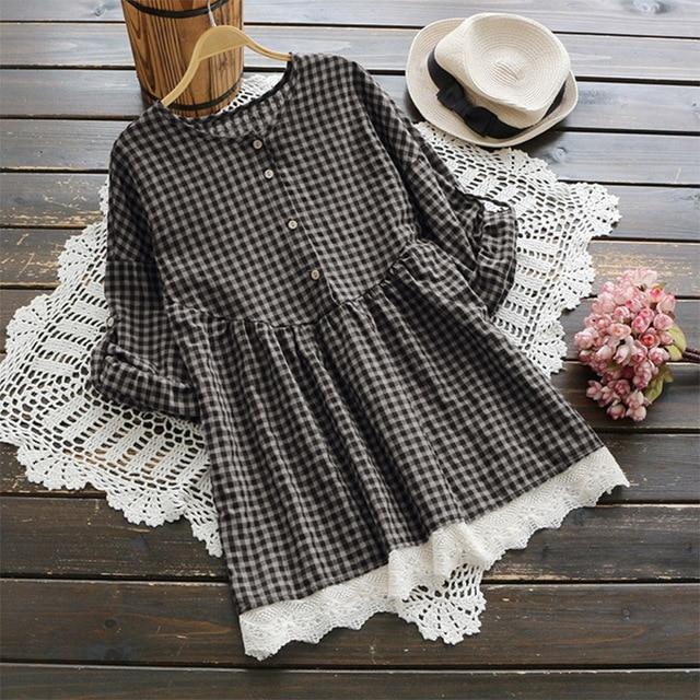 Buddha Trends Check Plaid Pleated Blouse