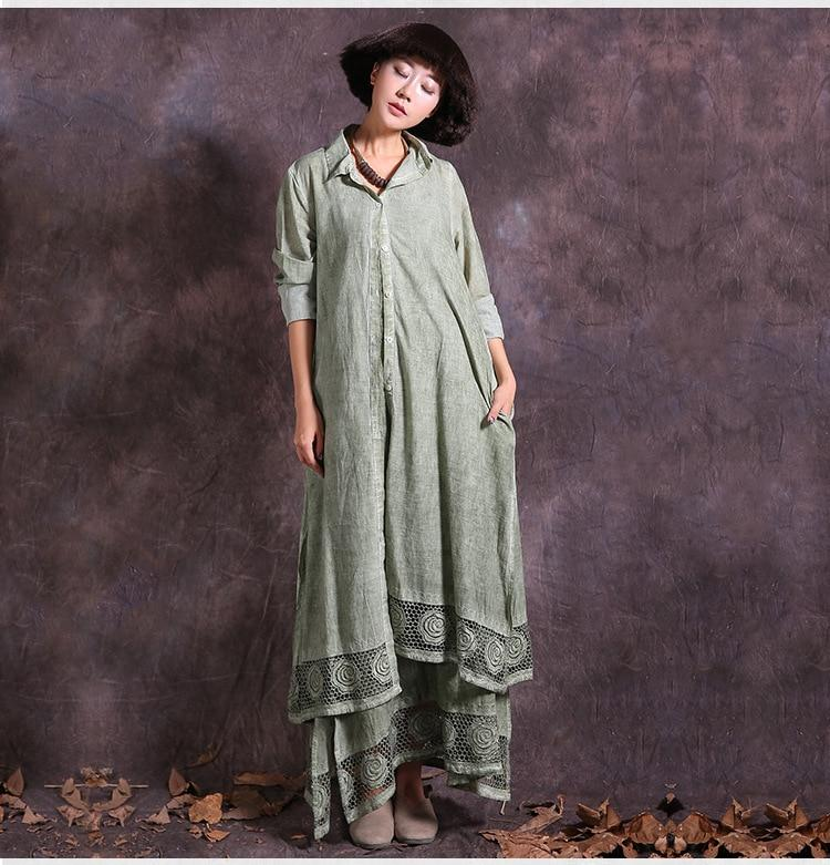 Asymmetrical Cotton Linen Long Shirt Dress