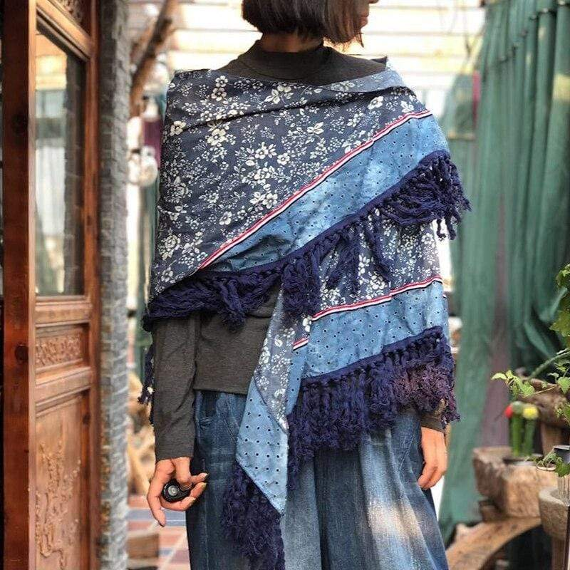 Buddha Trends Vintage Inspired Patchwork Cotton Pashmina Scarf