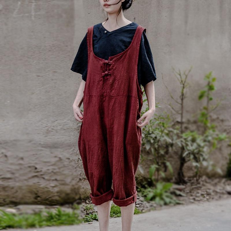 Buddha Trends Vintage Rot / One Size Oversized Leinen Overall | Lotus