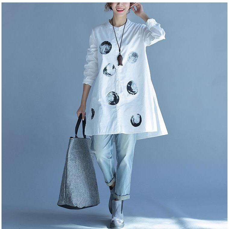 Buddha Trends White and Blue / L Polka Dot Casual Oversized Blouse