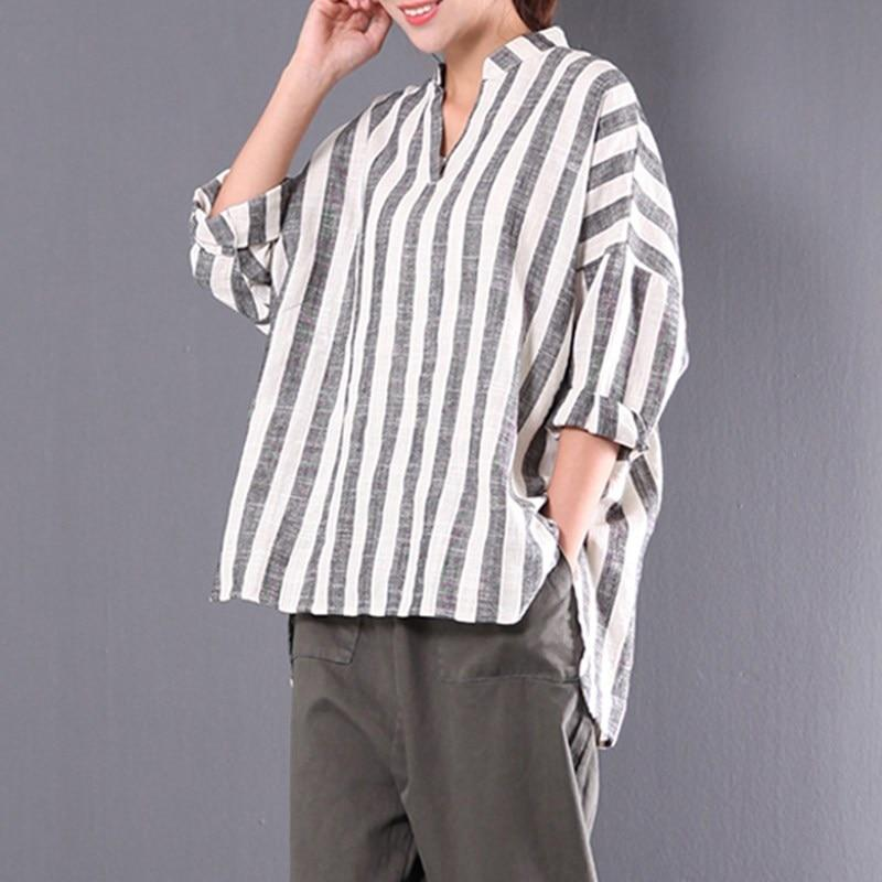 Buddha Trends White and Grey / M Grey and White Vertical Striped Shirt  | Zen
