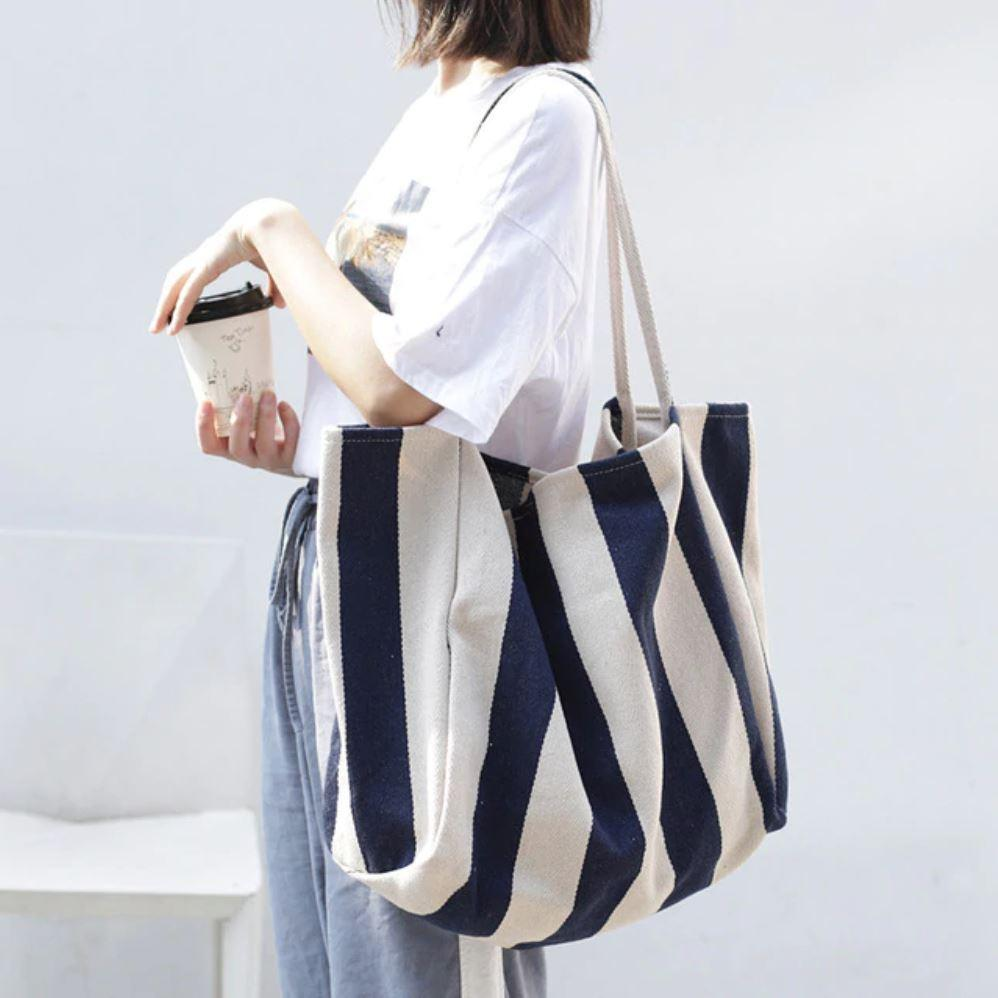 White and Blue Large Capacity Canvas Tote Bag