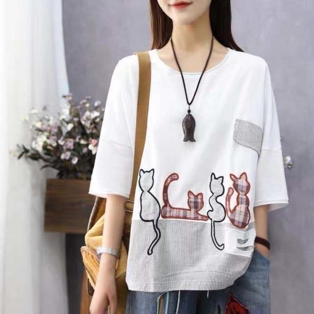 Buddha Trends Λευκό / One Size / Κίνα Cartoon Cat Loose Casual T-Shirts