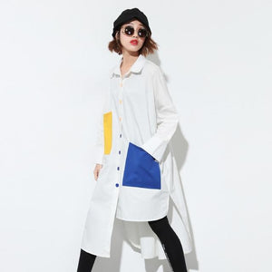 Buddha Trends Weiß / One Size Loose Funky Oversized Shirt