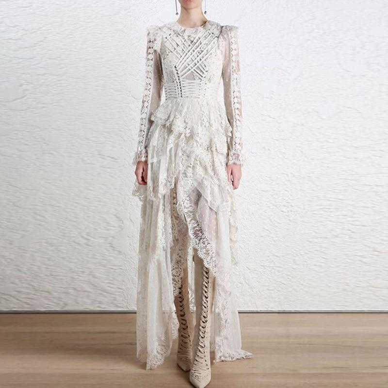 Buddha Trends White / S Cascading Lace Ruffles Bohemian Wedding Dress