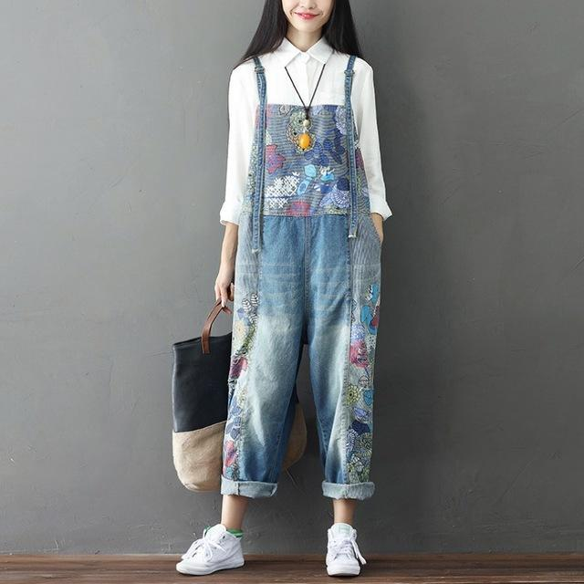 Wide Leg Floral Denim 90S Overall