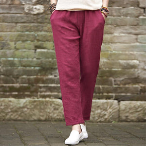 Buddha Trends wine red / M Plus Size Linen Pants