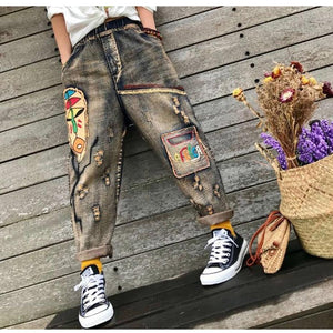 Buddha Trends Women's Jeans Afrika Patchwork Handmade Hipster Jeans