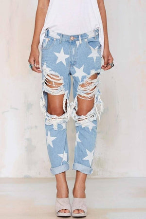 Buddha Trends Women's Jeans Five-pointed Star Ripped Jeans