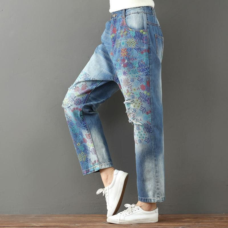 Funky Vibes Loose Floral Jeans