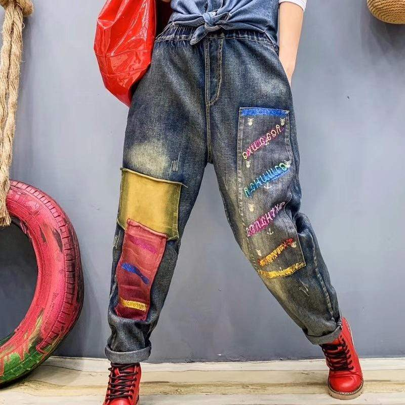 High Waisted Boyfriend Patchwork Jeans