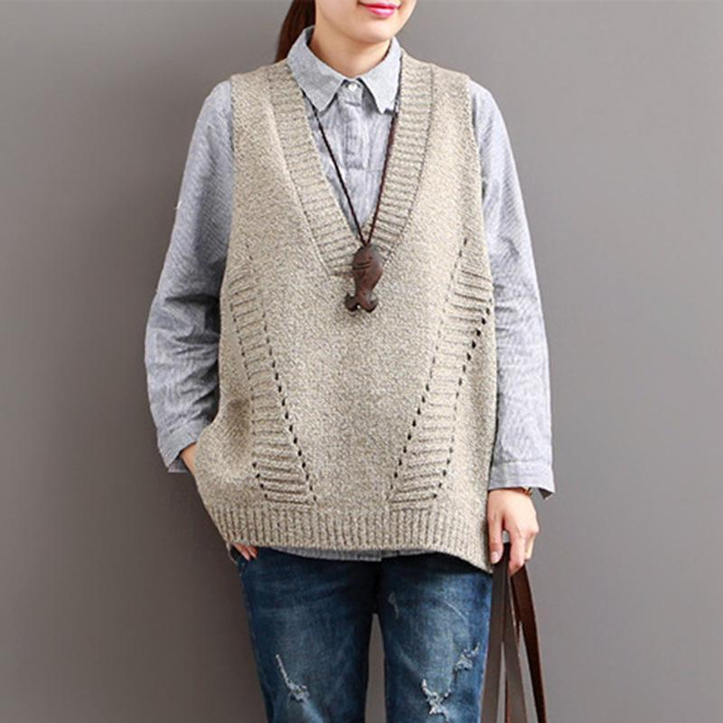 Buddha Trends Women's Sweaters Beige / One Size Casual Cotton V-Neck Sweater Vest