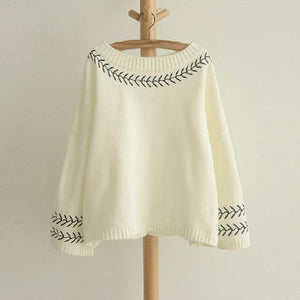 Buddha Trends Women's Sweaters Beige / One Size Embroidered Knitted Pullover