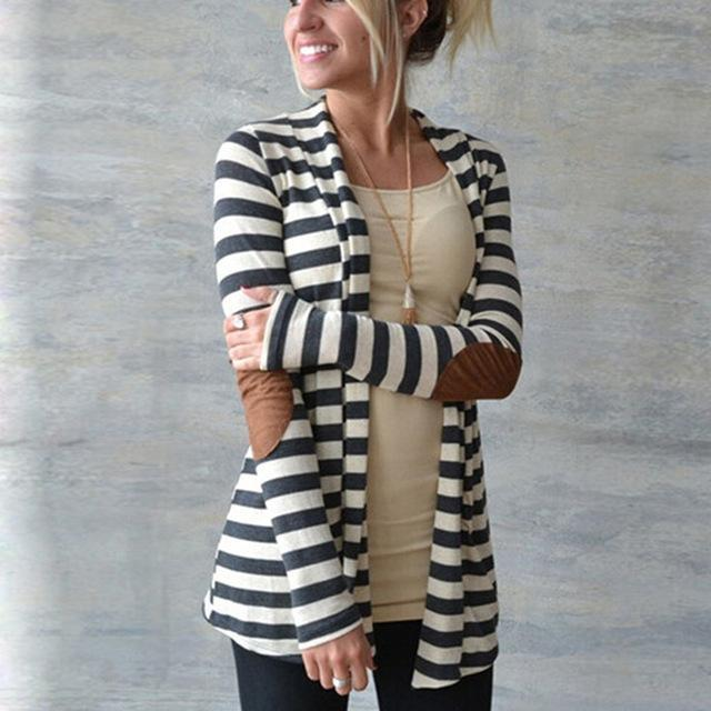 Buddha Trends Women's Sweaters Black & White / S Elbow Patch Striped Cardigan