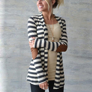 Buddha Trends Damenpullover Schwarz-Weiß / S Elbow Patch Striped Cardigan