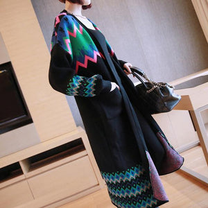 Buddha Trends Women's Sweaters Black / XXL Colorful Long Sleeve Knitted Cardigan Sweater