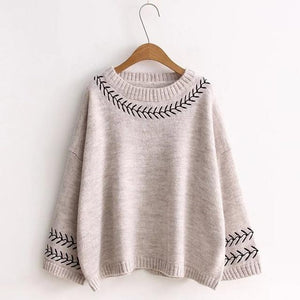 Buddha Trends Women's Sweaters Gray / One Size Embroidered Knitted Pullover
