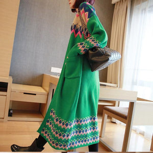 Buddha Trends Women's Sweaters Green / M Colorful Long Sleeve Knitted Cardigan Sweater
