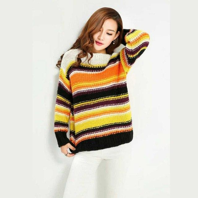 Buddha Trends Women's Sweaters Multi Green Rainbow Striped Knitted Pullover