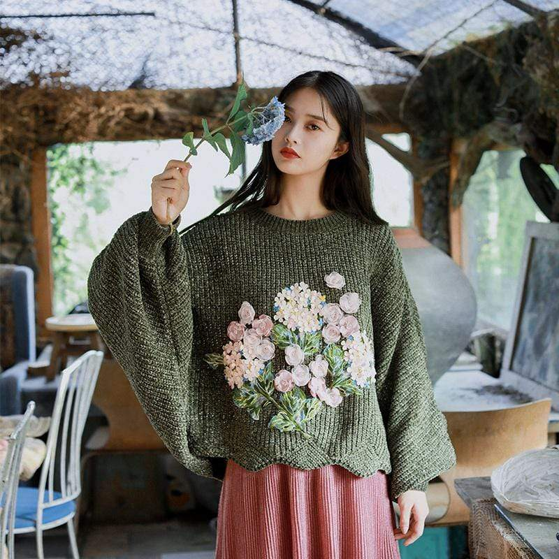Floral Embroidered Oversized Batwing Sleeve Sweater
