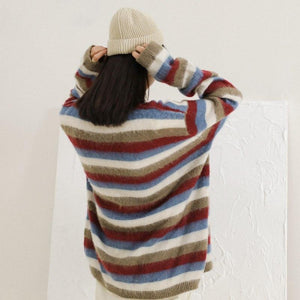 Buddha Trends Damenpullover One Size / Multicolor Soft Slouchy Striped Pullover