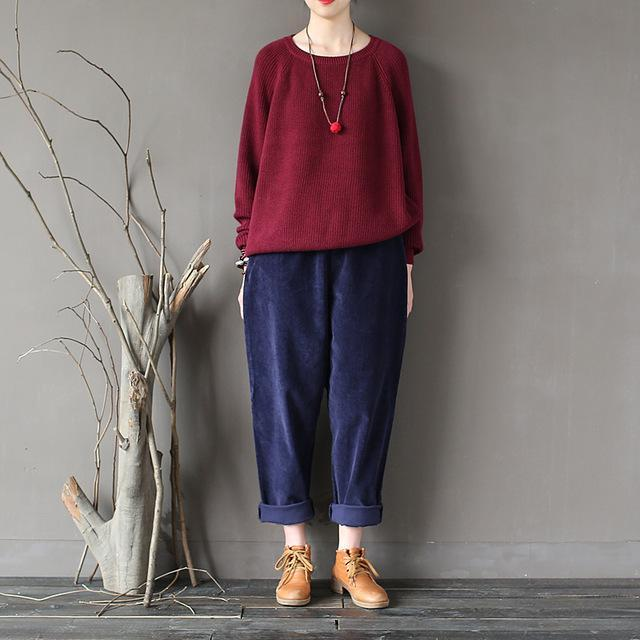Buddha Trends Damenpullover Rot / One Size Casual Strickpullover