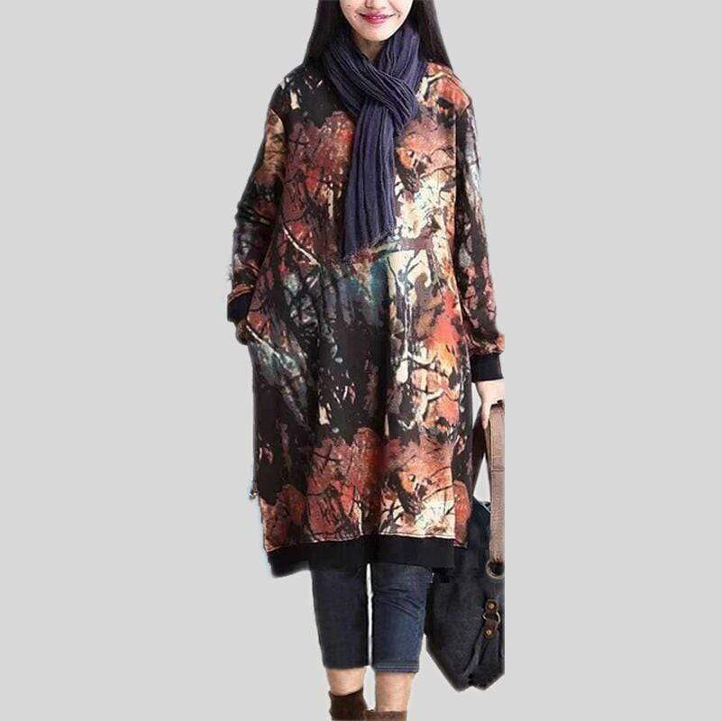 Buddhatrends Abstract Nature Plus Size Sweater Kleid