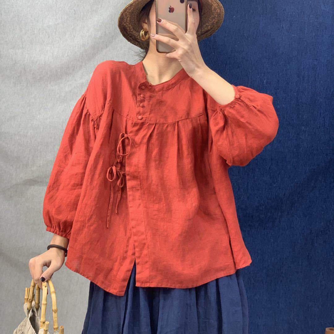 Buddhatrends Bluse Rot / One Size Norah Leinen Vintage Tops   Lotus