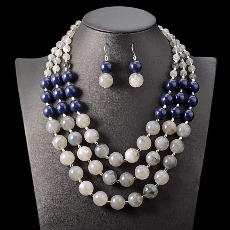 Multi Layer Beaded Necklace & Earrings Set