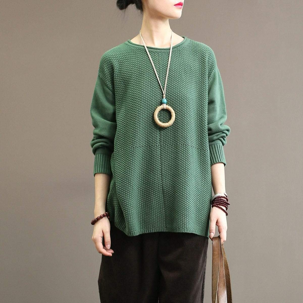 Buddhatrends Dark green / One Size Basic Knitted Sweater
