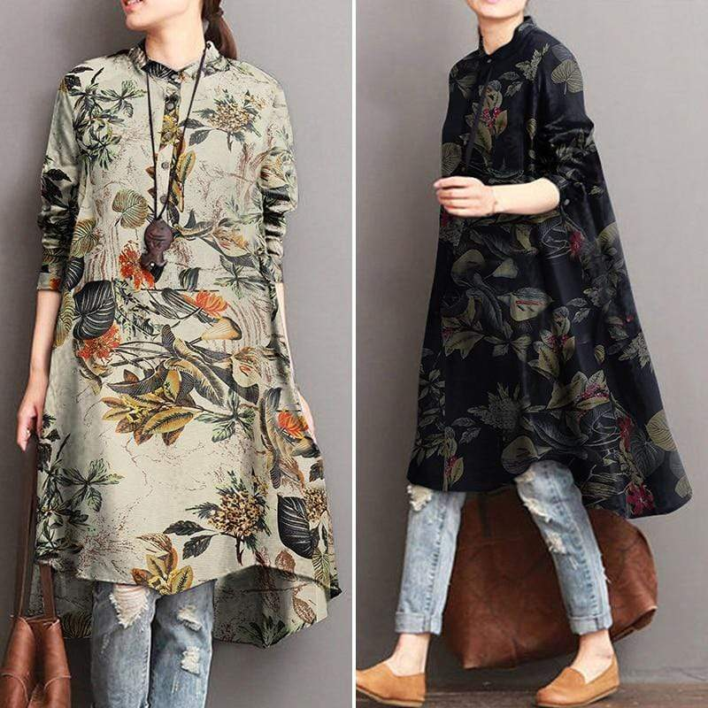 Buddhatrends Kleid Nature Inspired High Low Bluse