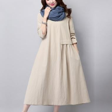 Buddhatrends Dresses Grace Plain Casual Vintage Dress