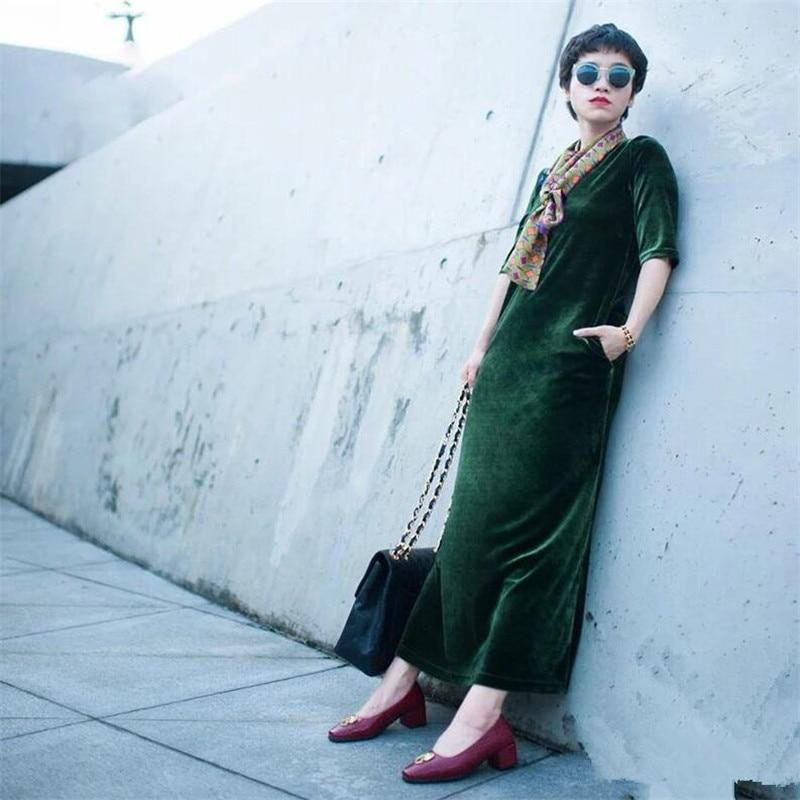 Plus Size Velvet Maxi Dress
