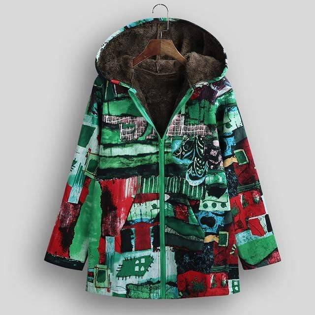 Buddhatrends Jackets Green / 5XL Aurora Vintage Plus Size Hooded Jacket