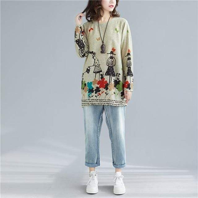 Buddhatrends Khaki / One Size Colourful Cartoons Long Sleeve Sweater