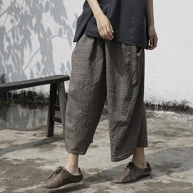 Embossed Plaid Straight Leg Pants | Lotus