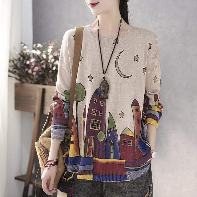 Buddhatrends πουλόβερ One Size / Beige Presley Casual Printed Loose Sweater