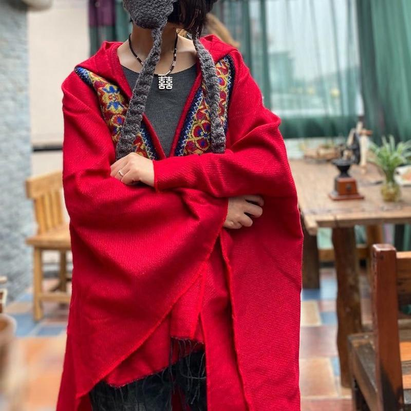 Buddhatrends Tops Lucy Patchwork Vintage με κουκούλα Poncho