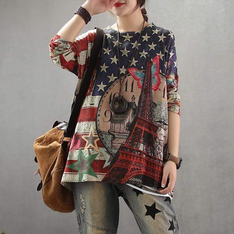 Buddhatrends Tops Paris Retro Loose Printed Pullovers