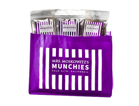 Mrs. Moskowitz's chocolate drizzled munchies (three 6 oz. or six 2.5 oz. minimum order Tote bag sold separately)