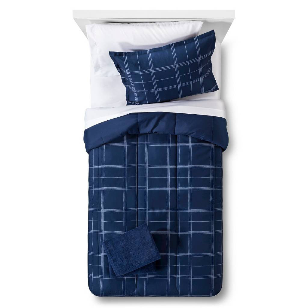 Bedding Set Reversible with Towels Plaid Navy - Twin Extra Long Size