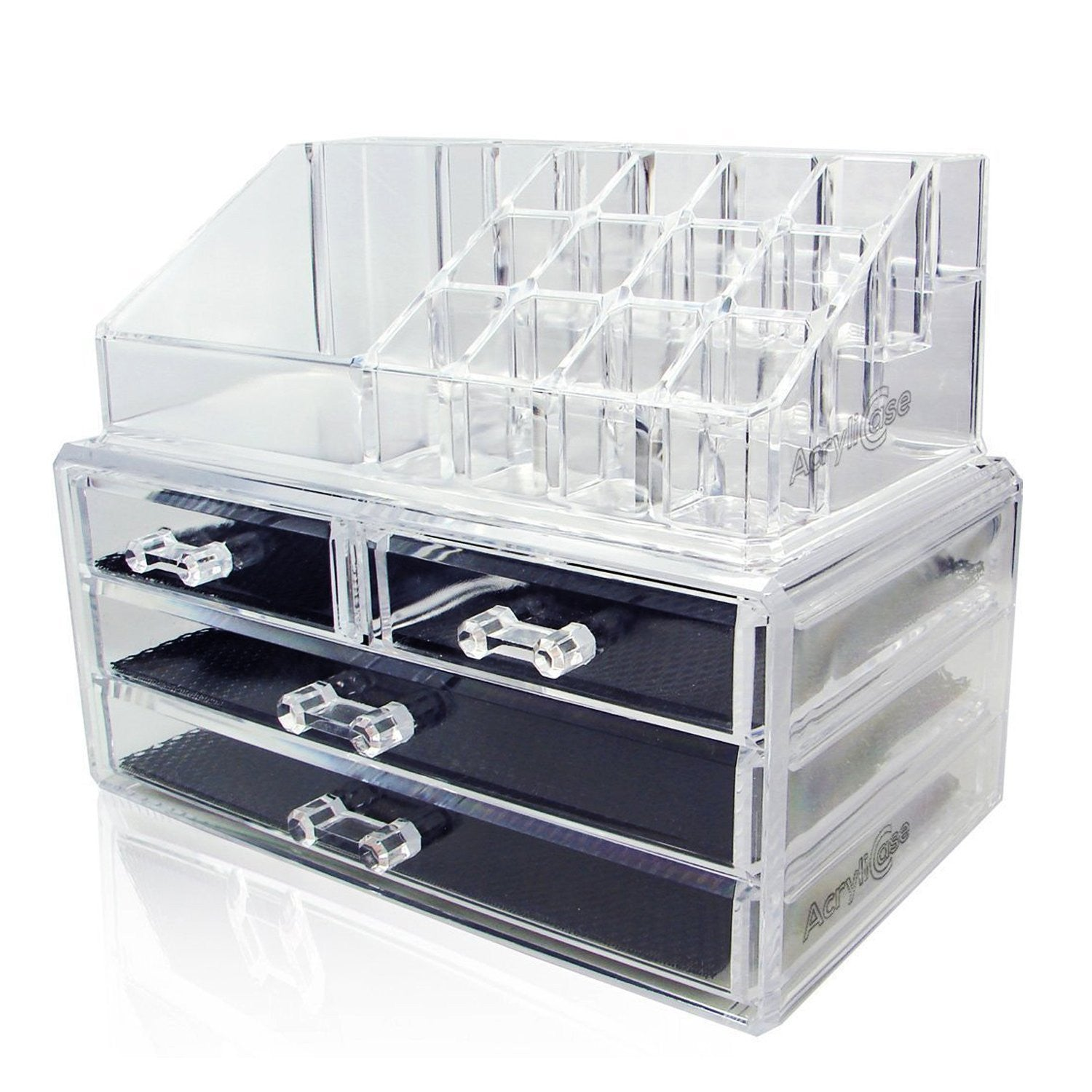 Acrylic Makeup Organizer Cosmetic Jewerly Display Box 2 Piece Set by AcryliCase
