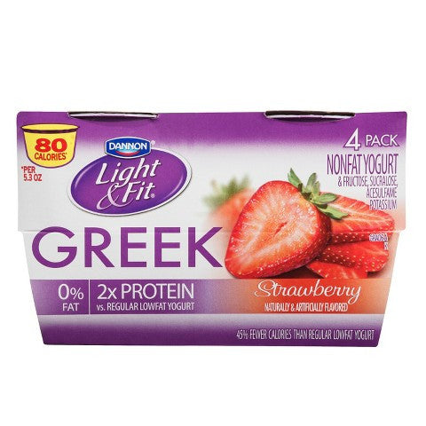 Dannon Light & Fit Greek Yogurt- Strawberry Flavor- 4 pack, 5.3 oz each