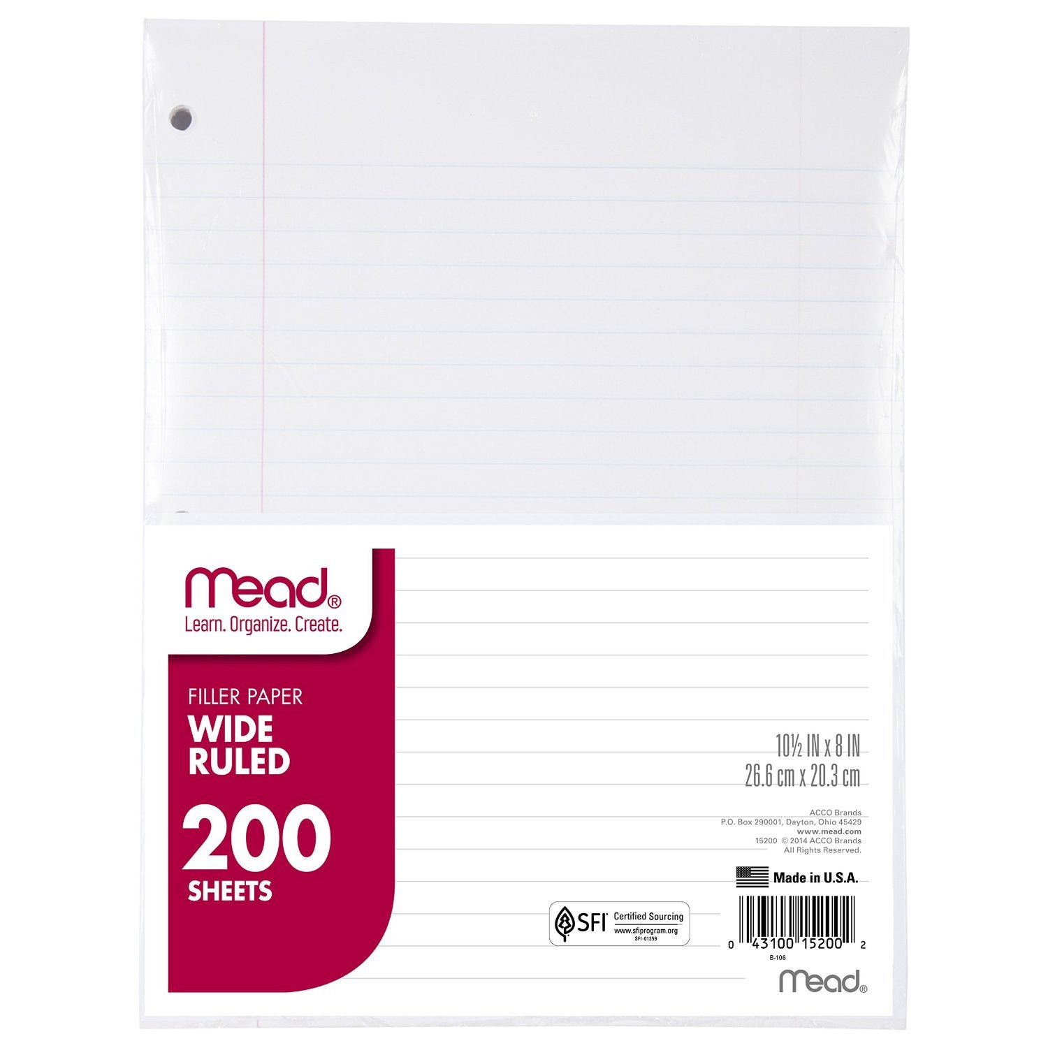Mead Loose Leaf Lined Paper 200 Sheets