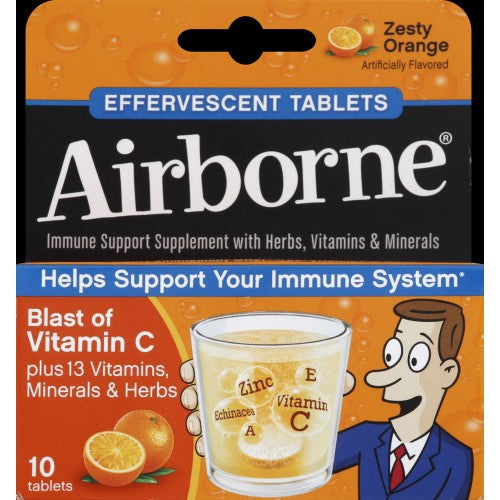 Airborne Effervescent Health Formula - Zesty Orange - 1.7 oz, 10 tablets