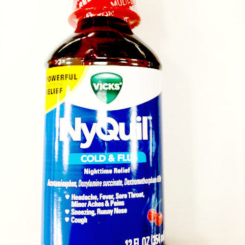 Vicks NyQuil Cold & Flu Nighttime Relief, Cherry Flavored - 12 fl oz